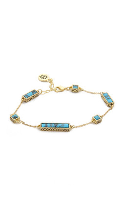 House Of Harlow 1960 The Long Rains Station Bracelet - Gold/Turquoise