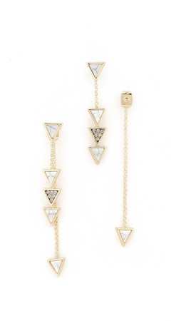 House Of Harlow 1960 Triangle Trellis Drop Earrings - Howlite/Smokey Grey/Gold