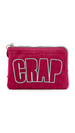 House Of Holland Croc Embossed Haircalf Bag - Pink