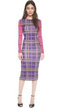 House Of Holland Plaid Long Sleeve Dress - Purple/Pink/Blue Tartan