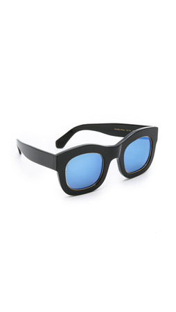 Illesteva Hamilton Mirrored Sunglasses - Black/Blue