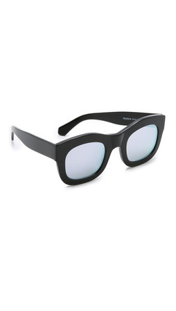 Illesteva Hamilton Mirrored Sunglasses - Black/Silver