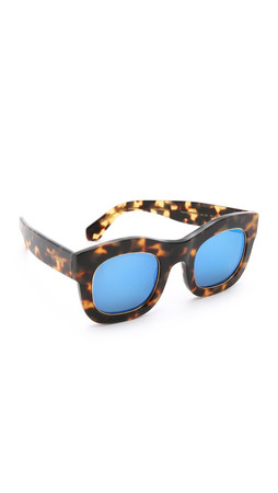 Illesteva Hamilton Ring Mirrored Sunglasses - Tortoise/Blue