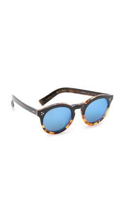 Illesteva Leonard Ii Half And Half Mirrored Sunglasses - Black Light Tortoise/Blue