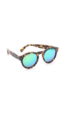 Illesteva Leonard Matte Mirrored Sunglasses - Matte Tortoise/Green