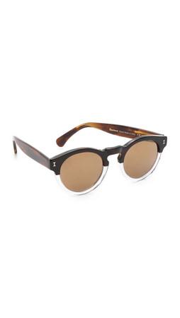 Illesteva Leonard Mirrored Sunglasses - Brown Clear/Gold