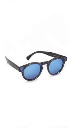 Illesteva Leonard Mirrored Sunglasses - Eco Blueberry/Blue