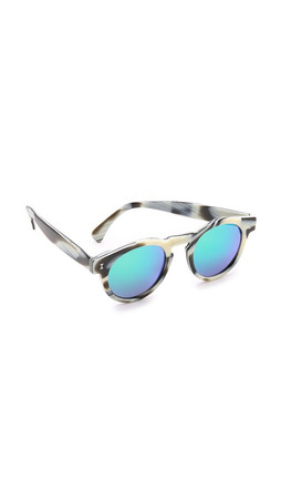 Illesteva Leonard Mirrored Sunglasses - Horn/Green