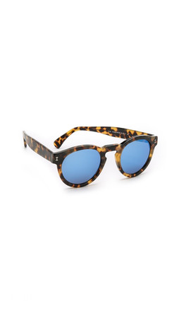 Illesteva Leonard Mirrored Sunglasses - Tortoise/Blue