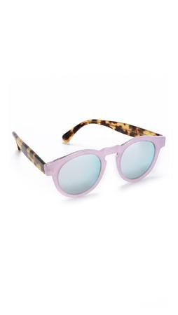 Illesteva Leonard Sparkle Mirrored Sunglasses - Pink Sparkle Tortoise/Silver