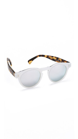 Illesteva Leonard Sparkle Mirrored Sunglasses - White Sparkle Tortoise/Silver