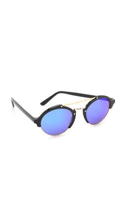 Illesteva Milan Ii Mirrored Sunglasses - Black/Blue