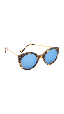Illesteva Palm Beach Mirrored Sunglasses - Tortoise/Blue