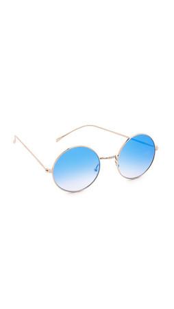 Illesteva Porto Cervo Mirrored Sunglasses - Gold/Blue