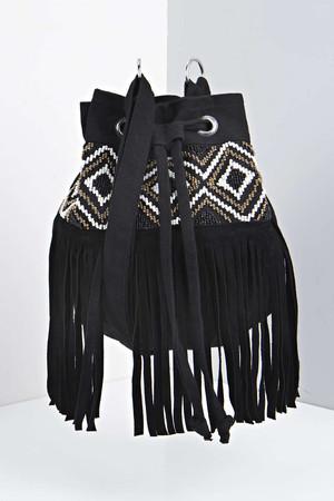 Isla Beaded Panel Fringed Duffle Bag black