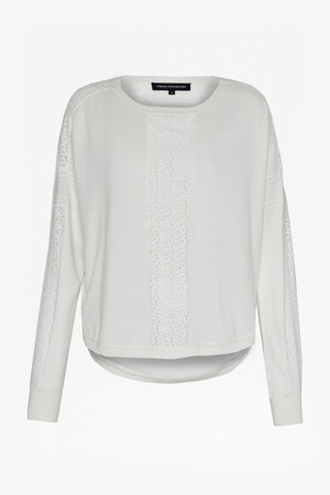 Ivy Lace Slouchy Jumper - WINTER WHITE