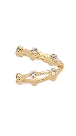 Jacquie Aiche Double Band Ear Cuff - Gold/Clear