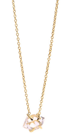 Jacquie Aiche Ja Herkimer Crystal Solitaire Necklace - Yellow Gold