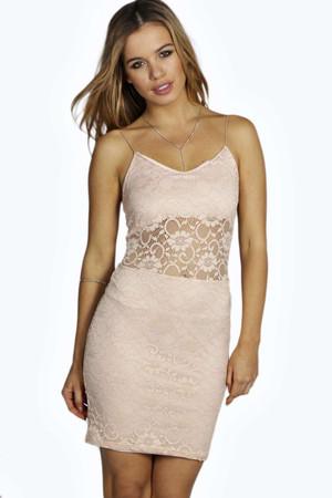 Jade Lace Panel Bodycon Dress nude