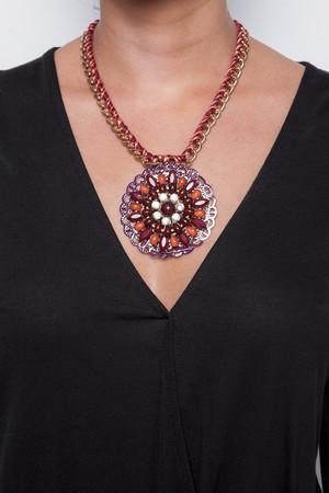 Jasmine Wine Circular Diamante Necklace