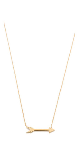 Jennifer Zeuner Jewelry Horizontal Arrow Necklace - Gold