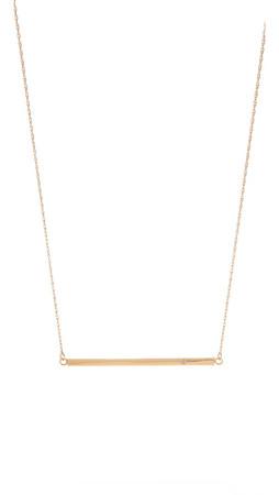 Jennifer Zeuner Jewelry Horizontal Bar Necklace With Diamond - Yellow Gold