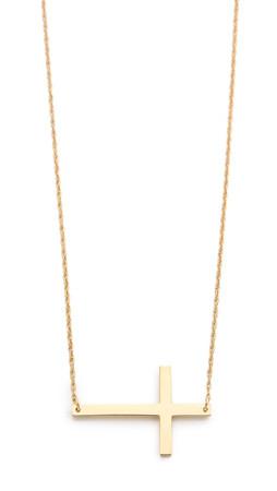 Jennifer Zeuner Jewelry Horizontal Cross Necklace - Gold
