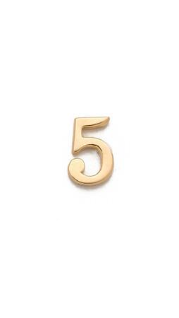 Jennifer Zeuner Jewelry Individual Number Earring - Five