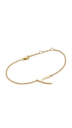 Jennifer Zeuner Jewelry Mini Wishbone Bracelet - Gold