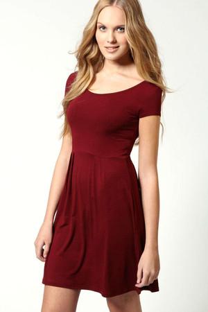 Jersey Cap Sleeve Skater Dress - berry