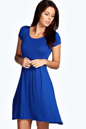 Jersey Cap Sleeve Skater Dress - cobalt