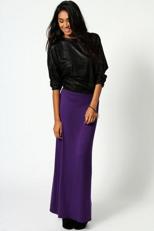 Jersey Contrast Waistband Maxi Skirt purple