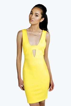 Jess Cut Out Bodycon Dress yellow