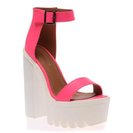 Jessi Hot Fuschia Cleated Sole Platform Shoes