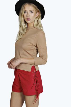 Jill Suedette Tassel Side Shorts red