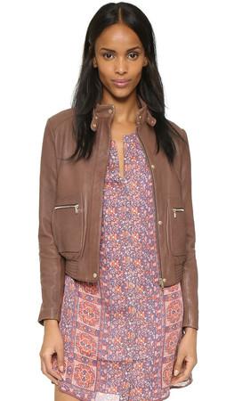 Joie Nakotah Leather Jacket - Mahogany
