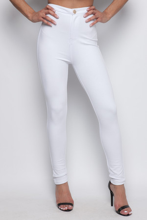 Joni White Super High Waisted Jeggings
