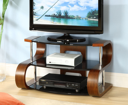 Jual Furnishings Curve 85cm Walnut S TV Stand