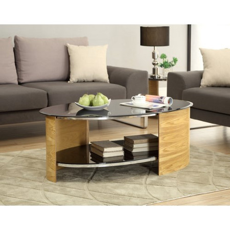 Jual Furnishings Curve Coffee Table in Oak and Black Glass