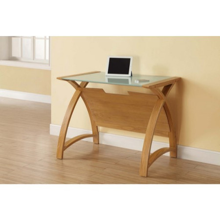 Jual Furnishings Curve Medium Laptop Desk in Oak with Clear Glass