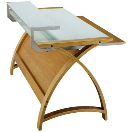 Jual Furnishings Delta Home Office Desk in Oak and White - W90cm x D64cm x H84cm