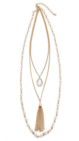 Jules Smith Antique Layered Tassel Necklace - Gold Multi