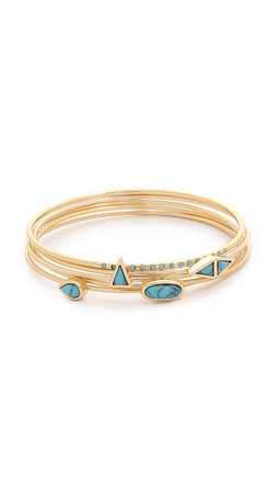 Jules Smith Canyon Bangle Bracelet - Gold/Turquoise