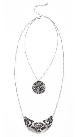 Jules Smith Double Layer Medallion Bib Necklace - Silver
