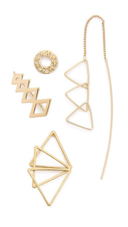 Jules Smith Geo Triangle Earring Set - Gold