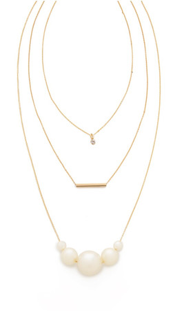 Jules Smith Pippa Layered Necklace - Gold/Pearl