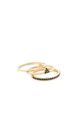Jules Smith Three Part Tri Ring Set - Gold/Black