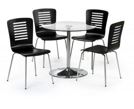 Julian Bowen Kudos Glass Pedestal Table & 4 Chairs