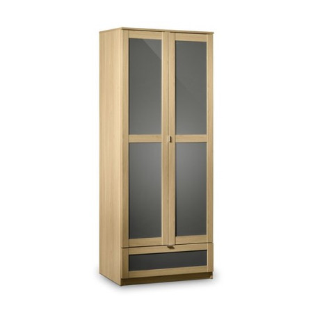 Julian Bowen Strada 2 Door 1 Drawer Wardrobe in Light Oak and Grey
