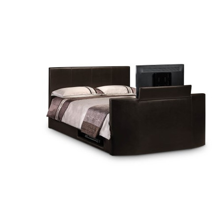 Julian Bowen  Optika Faux-Leather Upholstered Double TV Bed In Brown